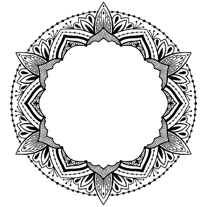 Vector ethnic Oriental circle ornament. White and black abstract floral mandala
