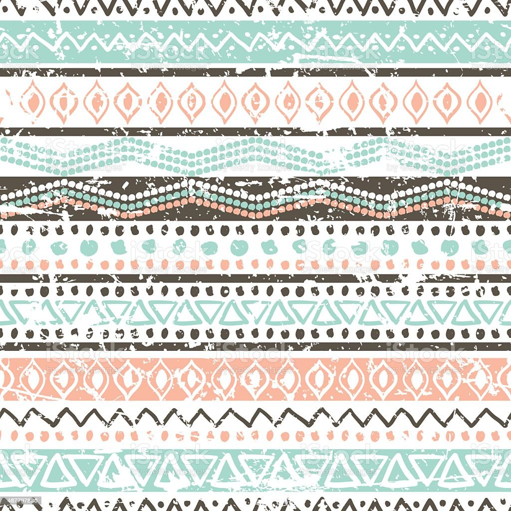 Vector ethnic seamless pattern. Hand drawn tribal striped ornament. vector art illustration
