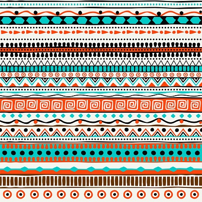 Vector ethnic seamless pattern. Hand drawn tribal striped ornament. Design concept for fashion print, backgrounds, greeting cards, holiday package and wrapping. Purple, green and orange colors