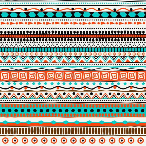 Vector ethnic seamless pattern. Hand drawn tribal striped ornament. Design concept for fashion print, backgrounds, greeting cards, holiday package and wrapping. Purple, green and orange colors Vector ethnic seamless pattern. Hand drawn tribal striped ornament. Design concept for fashion print, backgrounds, greeting cards, holiday package and wrapping. Purple, green and orange colors. indigenous culture stock illustrations