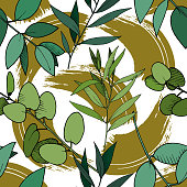 Vector Eucalyptus leaves branch. Exotic tropical hawaiian summer. Leaf plant botanical floral foliage. Black and white engraved ink art. Seamless background pattern. Fabric wallpaper print texture.