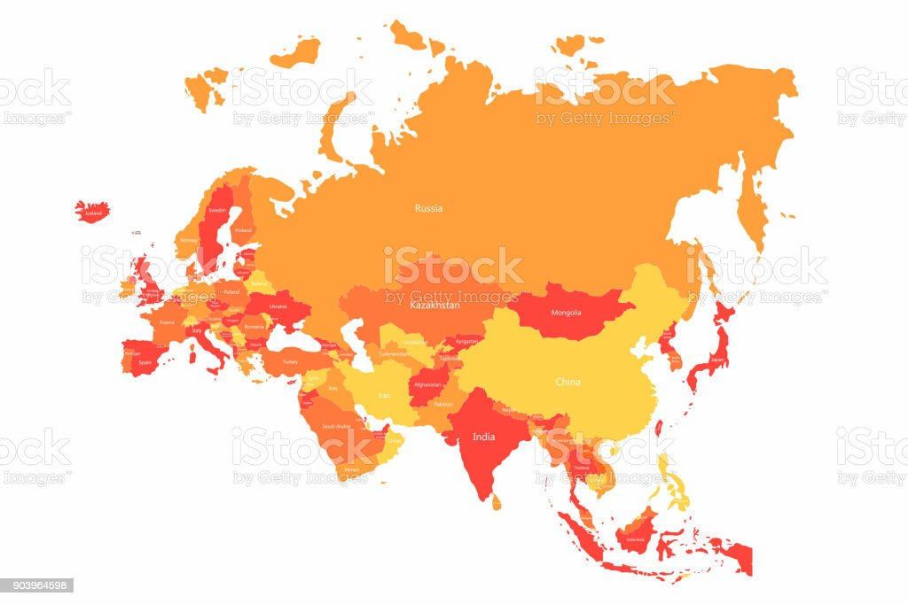 Vector Eurasia map with countries borders. Abstract red and yellow Eurasia countries on map vector art illustration