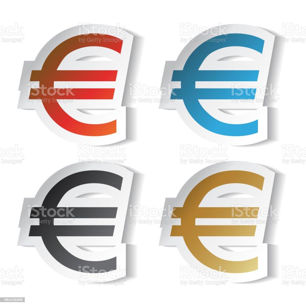 Vector euro symbols, stickers - Royalty-free Adhesive Note stock vector