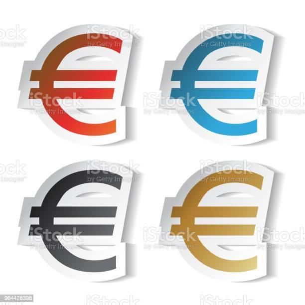 Vetores de Símbolos Do Euro De Vetor Adesivos e mais imagens de Azul