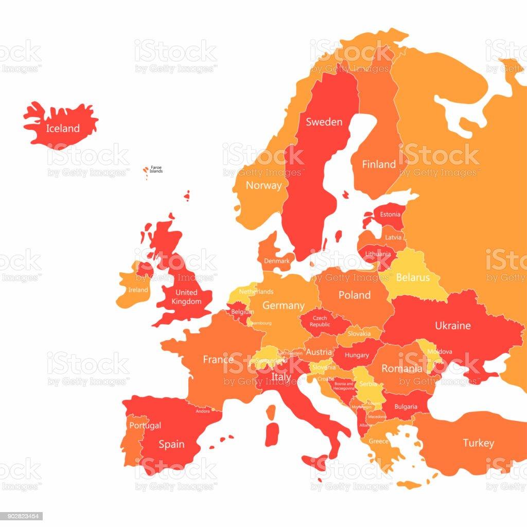 Länder Europas Karte.Vektoreuropakarte Mit Ländern Grenzen Abstrakt Rot Und Gelb Europa
