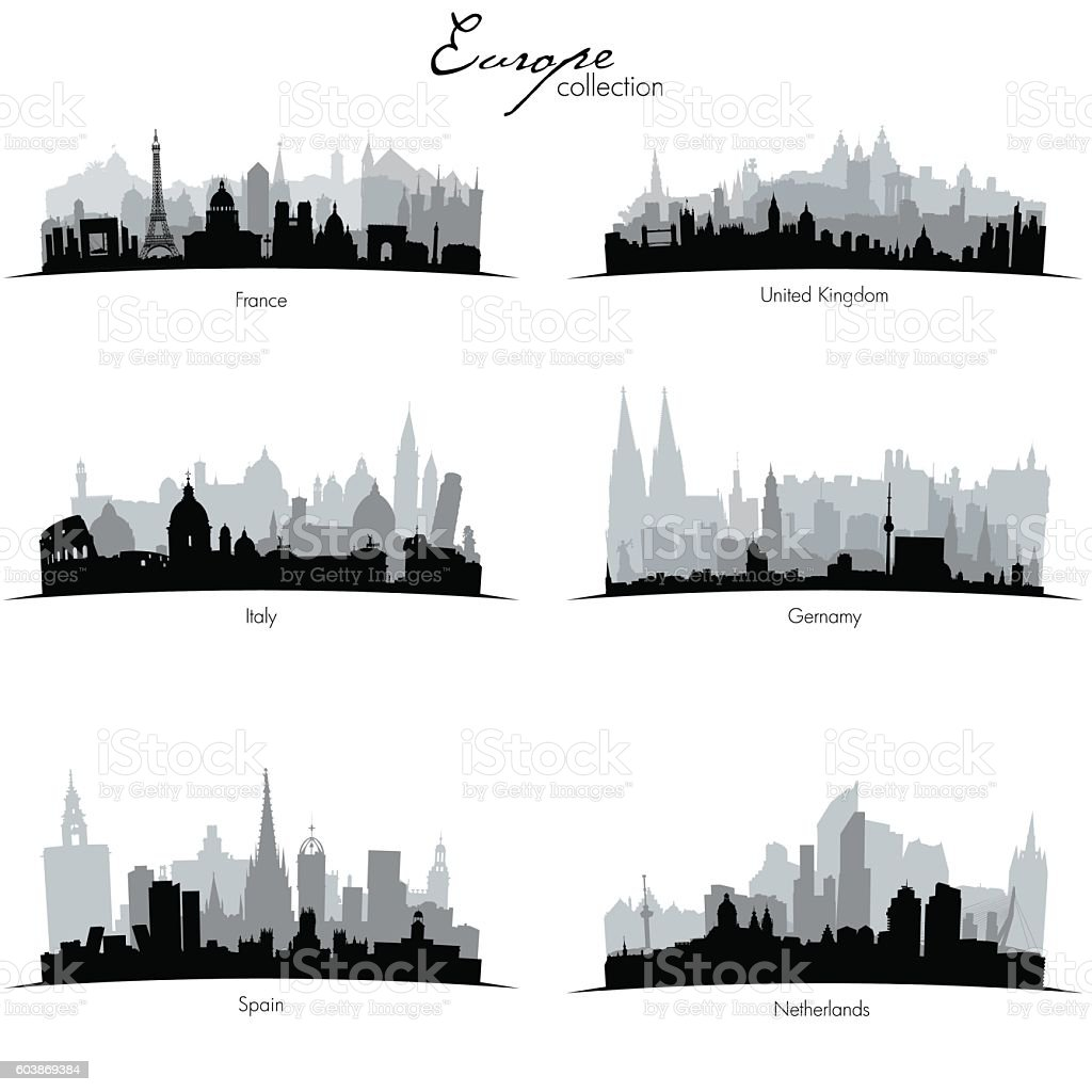 Vector european coutries silhouettes – Vektorgrafik