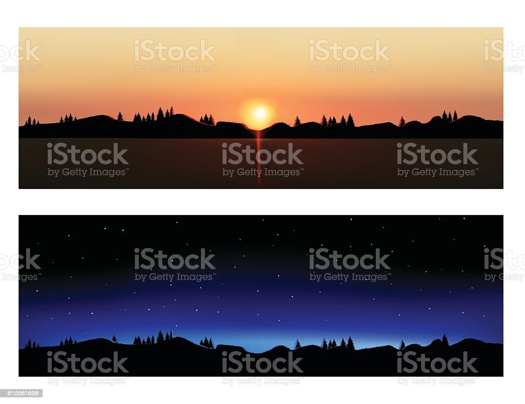 Vector evening and night landscapes. vector art illustration