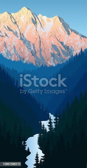 vector evening in beautiful mountains forest with river and peacks