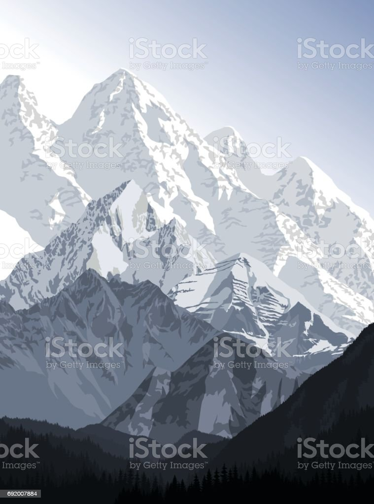 vector evening in beautiful mountains vector art illustration