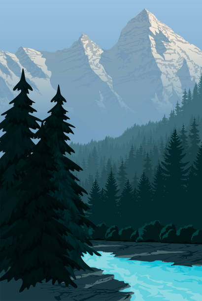 vector evening in beautiful mountains with river - mountains in mist stock illustrations