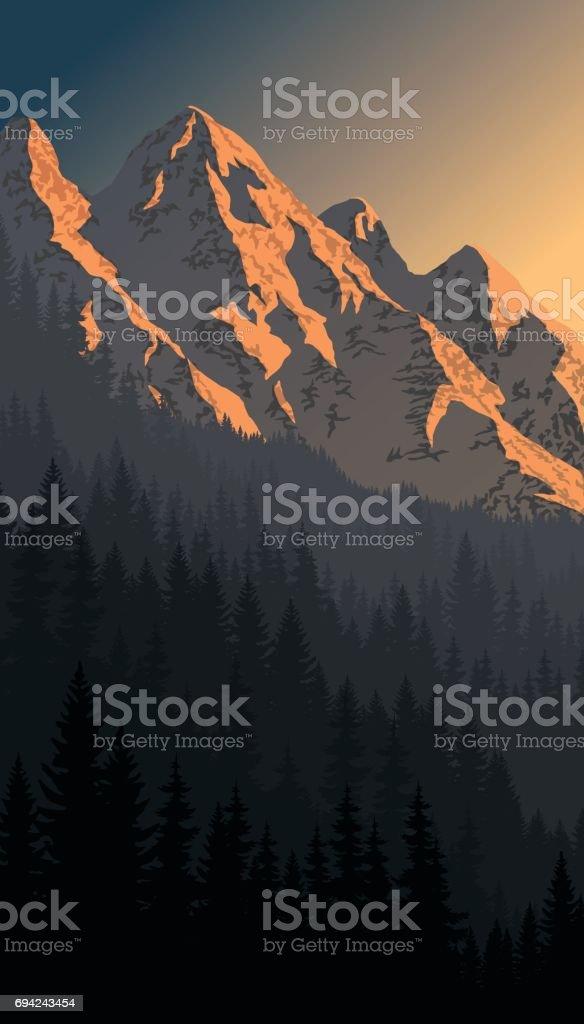 vector evening mountains landscape vector art illustration