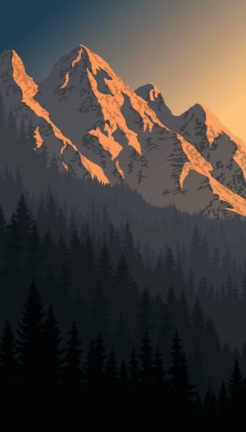 vektor abend berge landschaft - nationalpark stock-grafiken, -clipart, -cartoons und -symbole