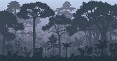 Vector evening tropical rainforest Jungle background