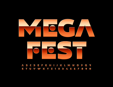 Vector event flyer Mega Fest with metallic Alphabet Letters and Numbers set