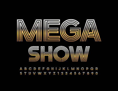 Vector event flyer Mega Show. Gold creative Alphabet Letters and Numbers set