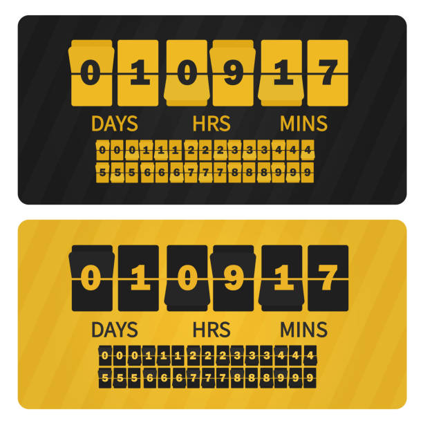 Vector Event presentation sale timer. Yellow black numbers counter template banner, all digits with flips included. Countdown clock digits board. vector art illustration