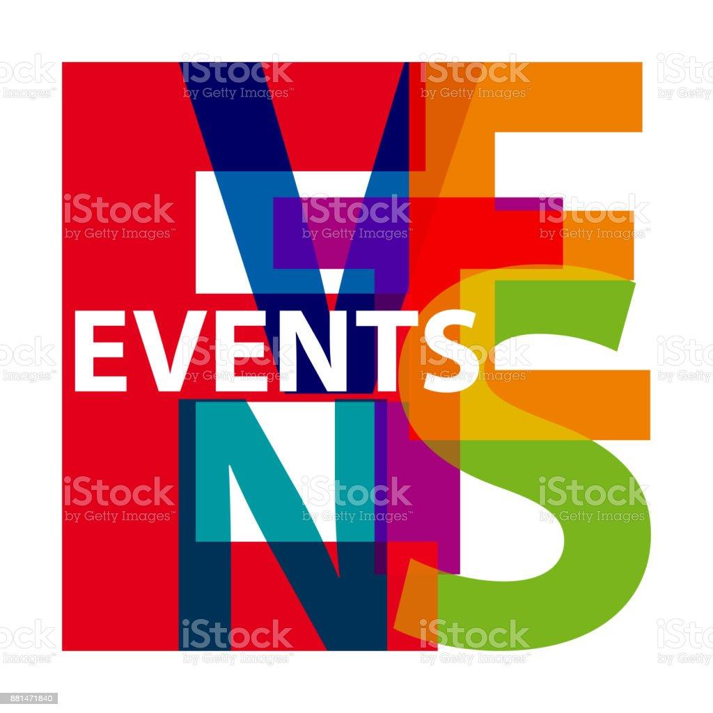 Vector events. Broken text vector art illustration