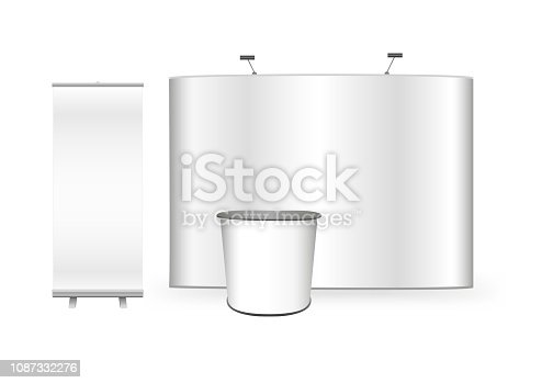 Vector 3D mock up or template of exhibition promo set for advertising agency. Flat pop up trade store show stand, promotion retail trade stand and roll up banner isolated on the white background