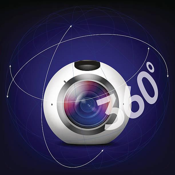 Vektor-Eye-Kamera mit Wegbeschreibungen von 360 Grad – Vektorgrafik