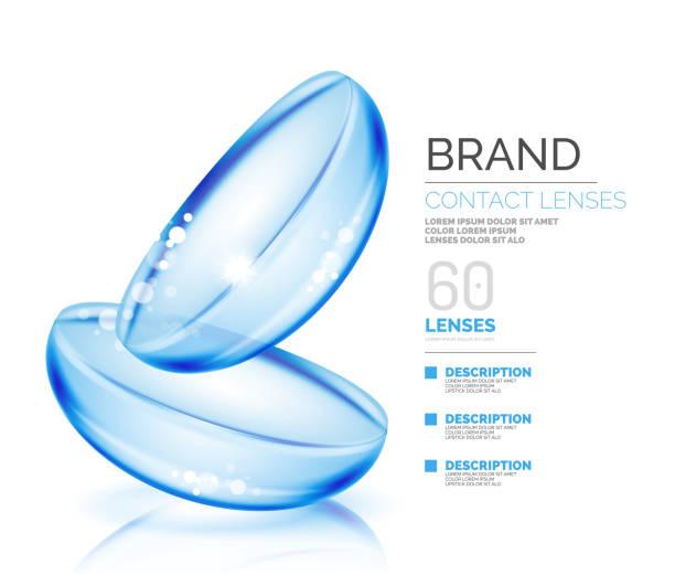 ilustraciones, imágenes clip art, dibujos animados e iconos de stock de plantilla vector contactos ojo lentes - lentes contacto
