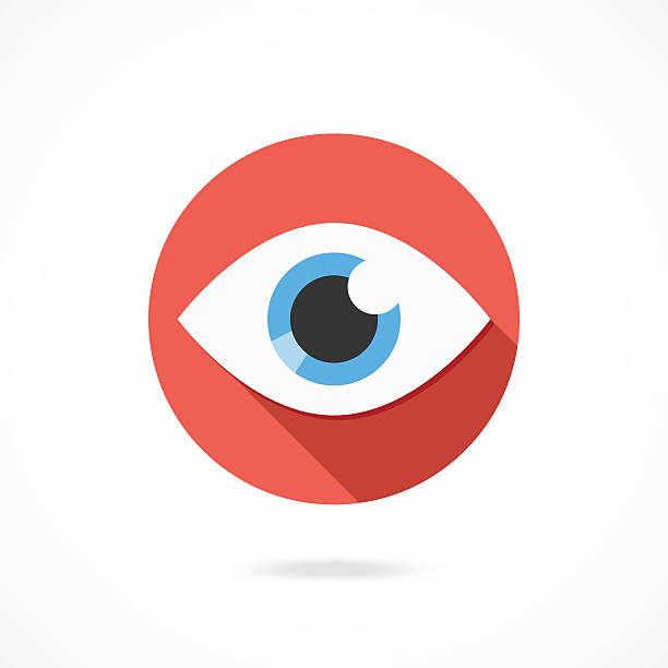 вектор на значок «глаз». логотип плоской стиле с длинной теневой - глазное яблоко stock illustrations