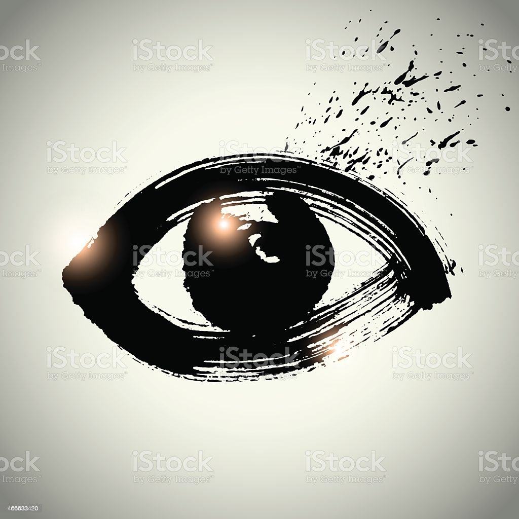 Vector: eye icon symbol with brushwork style vector art illustration