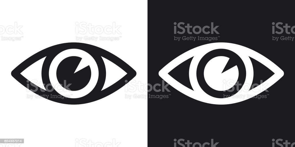 Vector eye icon. Two-tone version on black and white background vector art illustration