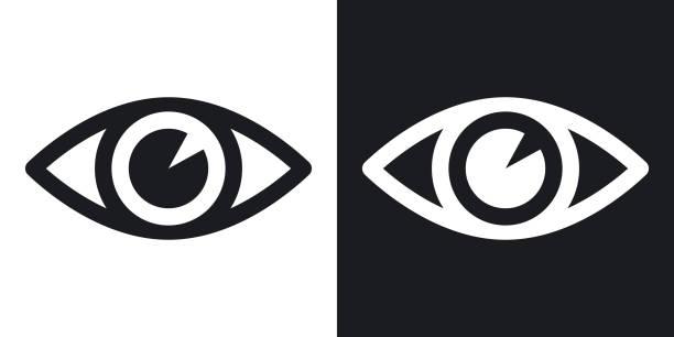 vektor augensymbol. zweifarbige version auf schwarzen und weißen hintergrund - auge stock-grafiken, -clipart, -cartoons und -symbole
