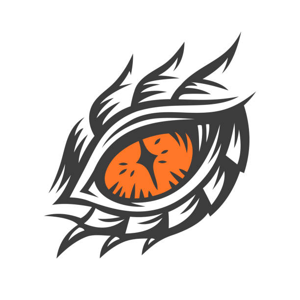 vector eye of a dragon and monster - illustration, print, emblem design on a white background. - dragon eye stock illustrations, clip art, cartoons, & icons