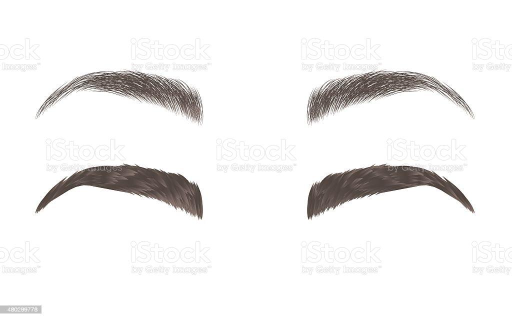 Vektor-Augenbrauen, realistisch und Comic-Stil – Vektorgrafik