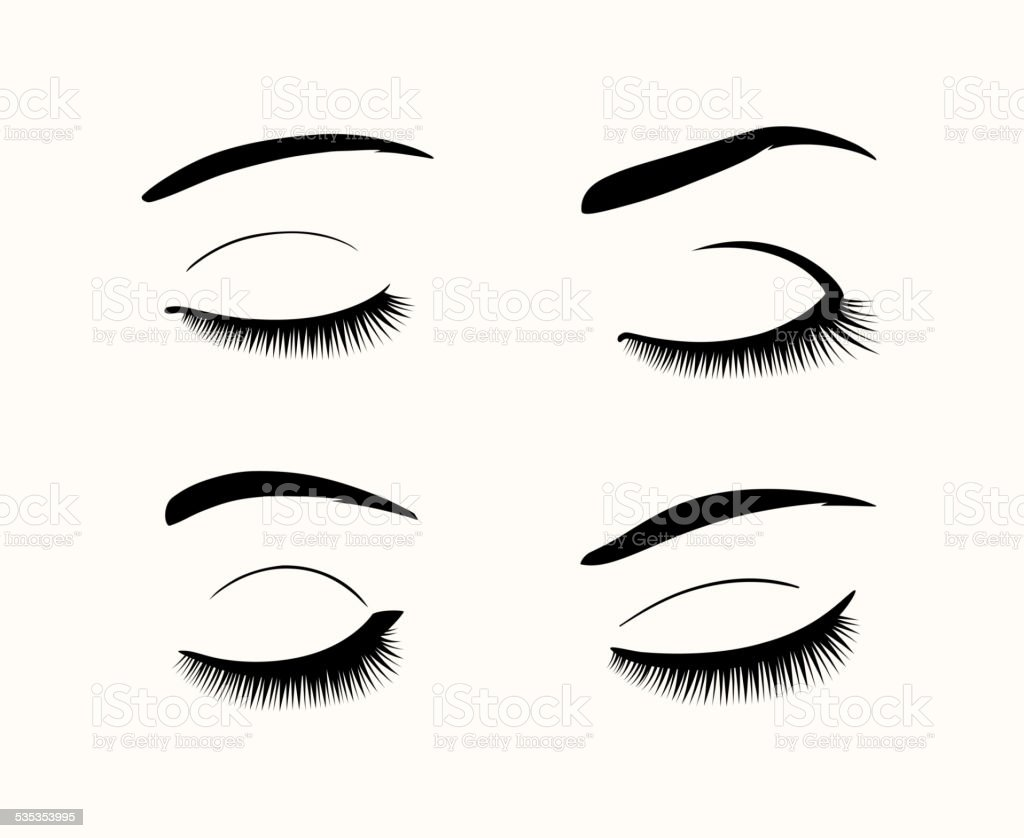 Vector eyelashes and eyebrows silhouettes vector art illustration