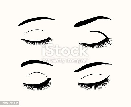 Vector Eyelashes And Eyebrows Silhouettes Stock Vector Art