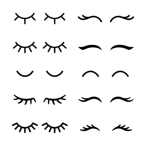 向量睫毛。閉上眼睛圖示集。 - 睫毛 幅插畫檔、美工圖案、卡通及圖標