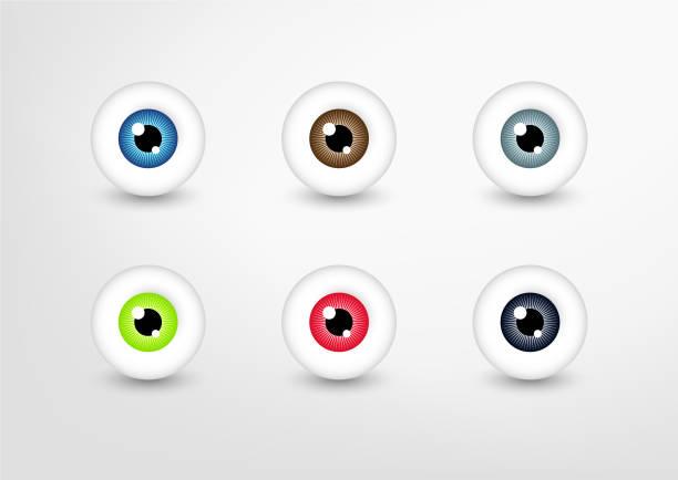 ilustraciones, imágenes clip art, dibujos animados e iconos de stock de colección de ojos vectoriales, conjunto de ojos de color - ojos azules