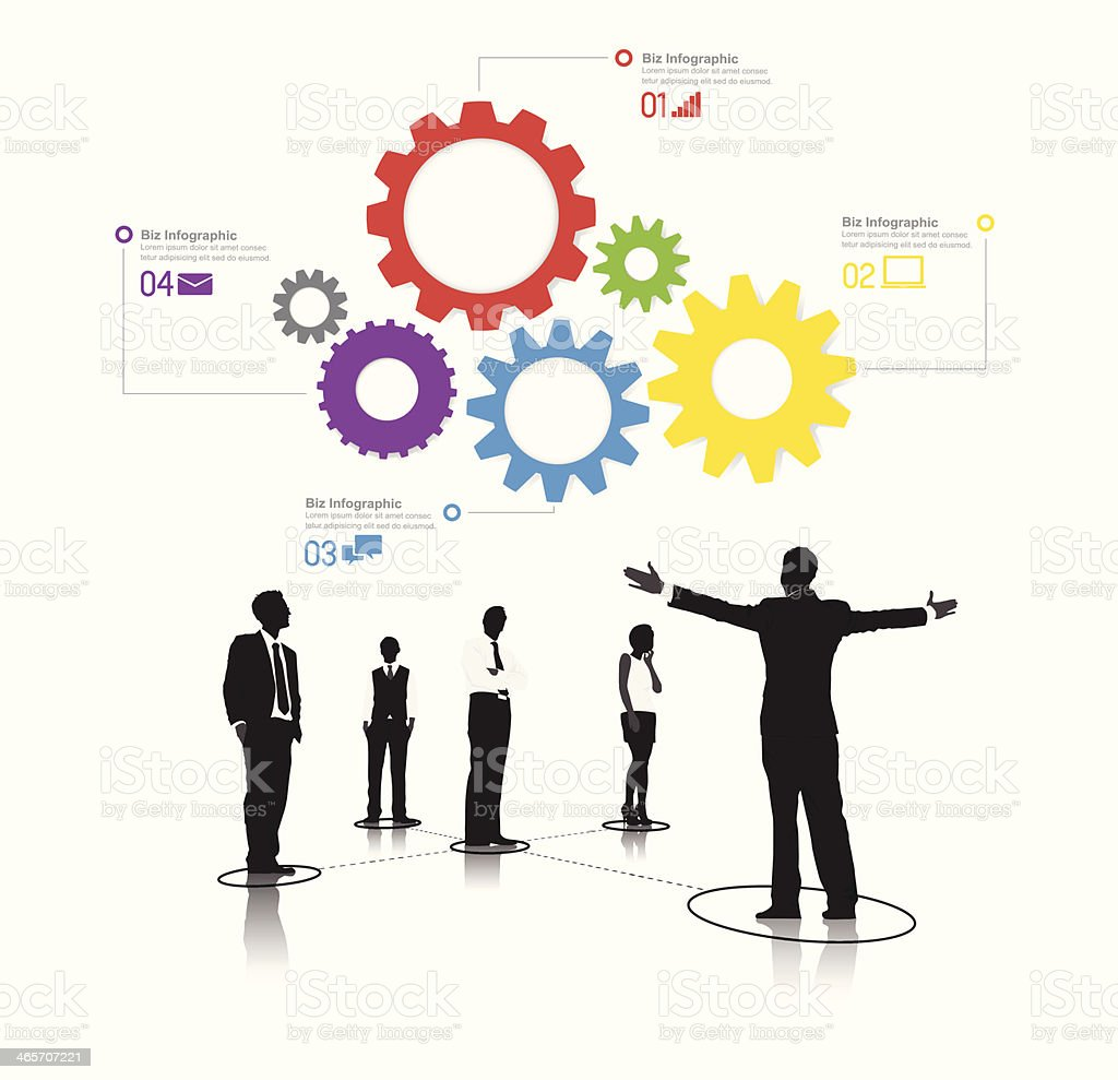 Vector f Business People with Infographic and Gear vector art illustration