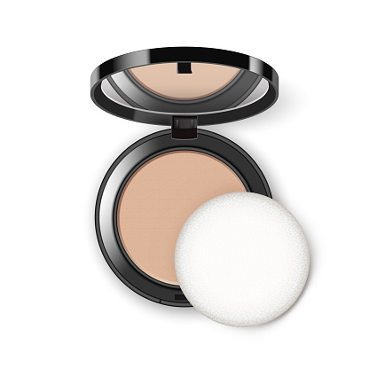 Vector Face Cosmetic Makeup Powder in Black Round Plastic Case with Mirror and Applicator Top View Isolated on White Background