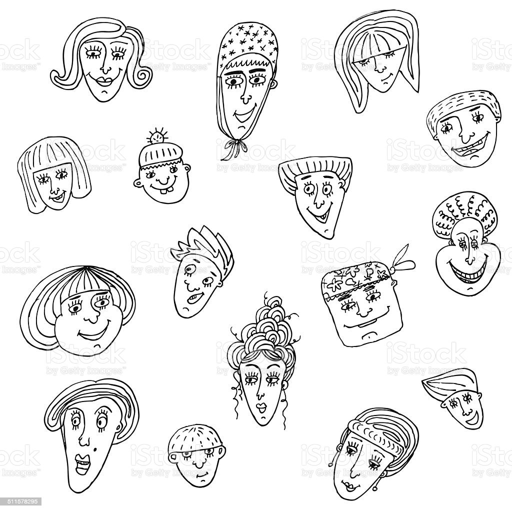 vector, face, doodle, people vector art illustration