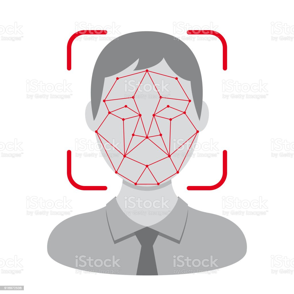 Vector face identification design vector art illustration