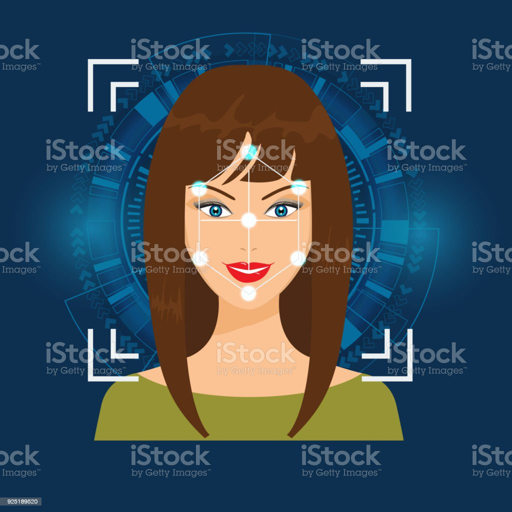 Vector Face Recognition or Faceprint technology scanning woman's face with Abstract Tech Background. vector art illustration