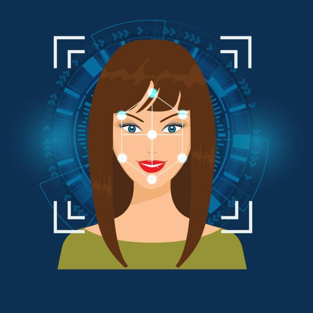 bildbanksillustrationer, clip art samt tecknat material och ikoner med vector ansiktsigenkänning eller faceprint teknik skanning kvinnans ansikte med abstrakt teknisk bakgrund. - kvinna ansikte glow