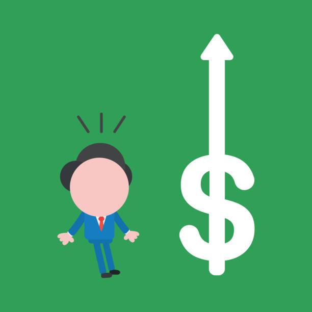 Vektor gesichtslose Geschäftsmann überrascht über Dollar-Symbol Pfeil bewegt sich auf grünem Hintergrund. – Vektorgrafik