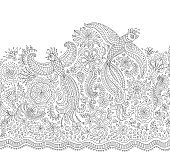 Vector fairy tale flying peacock birds with folk ornaments, thin line flowers, foliage , tree branches. Black and white background. Adults and children coloring book page. Embroidery contour, t-shirt print