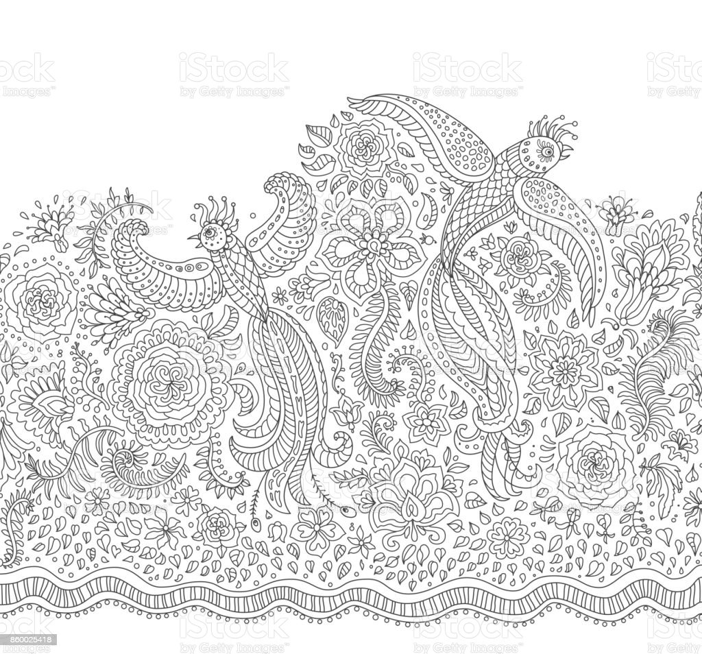 Vector fairy tale flying peacock birds with folk ornaments, thin line flowers, foliage , tree branches. Black and white background. Adults and children coloring book page. Embroidery contour, t-shirt print vector art illustration