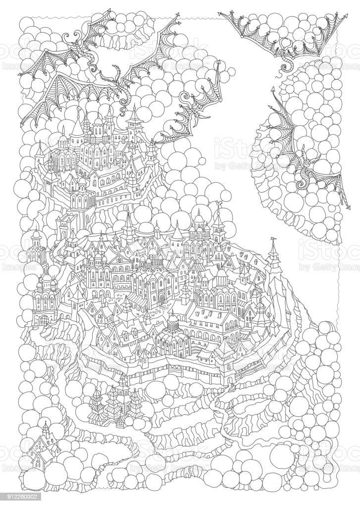 Ilustración de Vector De Paisaje De La Isla Rocosa De Cuento De ...