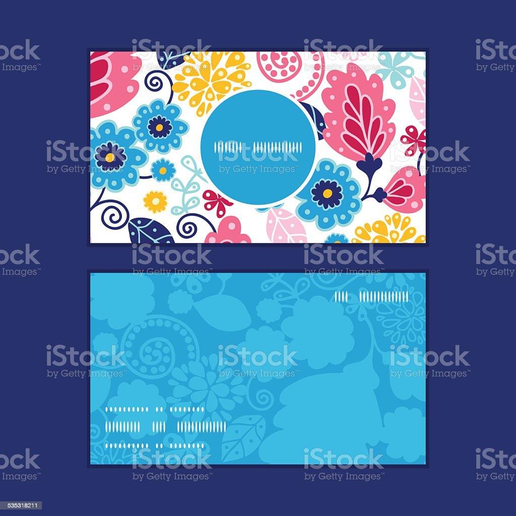 Illustration De Conte Fes Vertical Motif Fleurs Monture Ronde Cartes Visite Ensemble