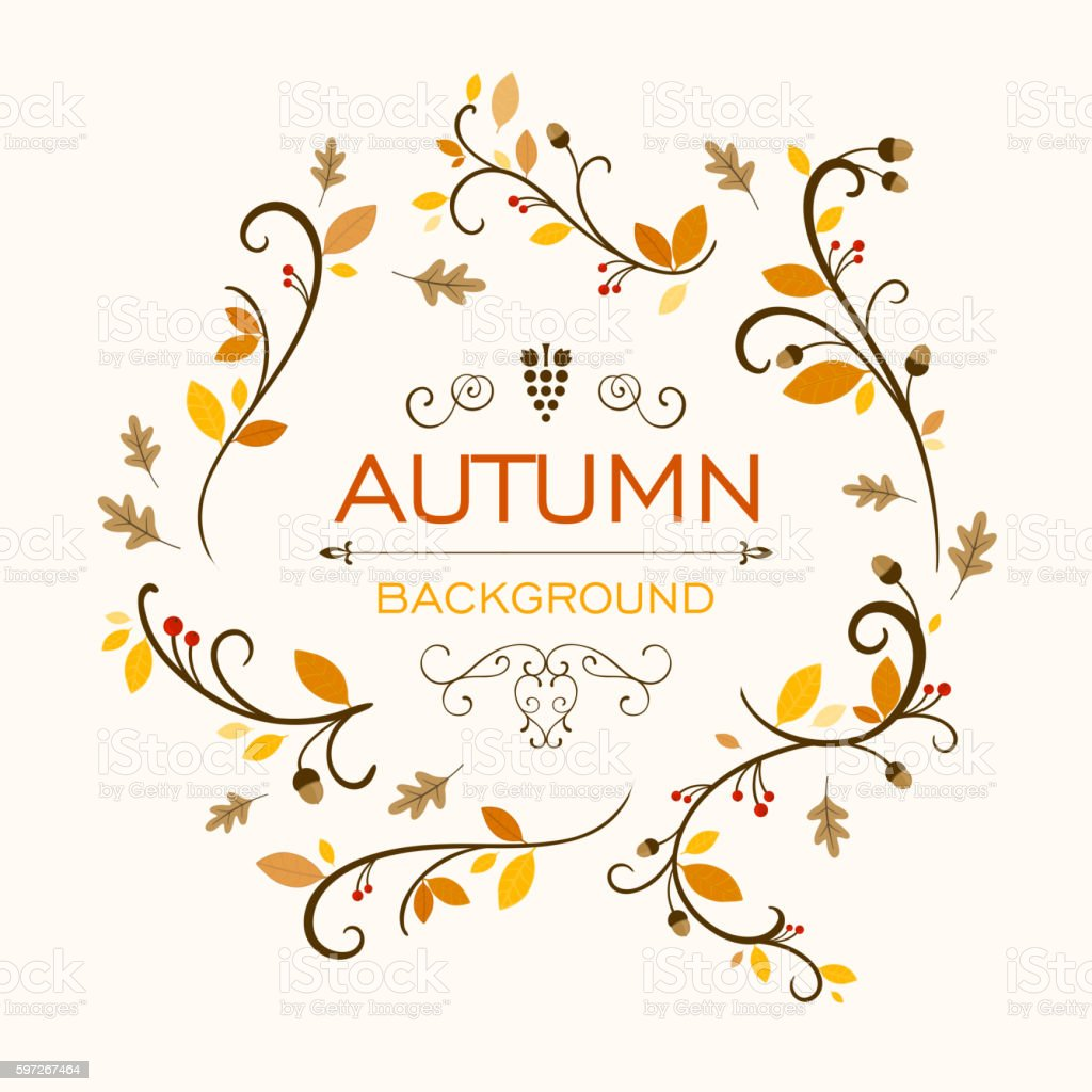 Vector Fall Background Design with Autumnal Leaves royalty-free vector fall background design with autumnal leaves stock vector art & more images of abstract