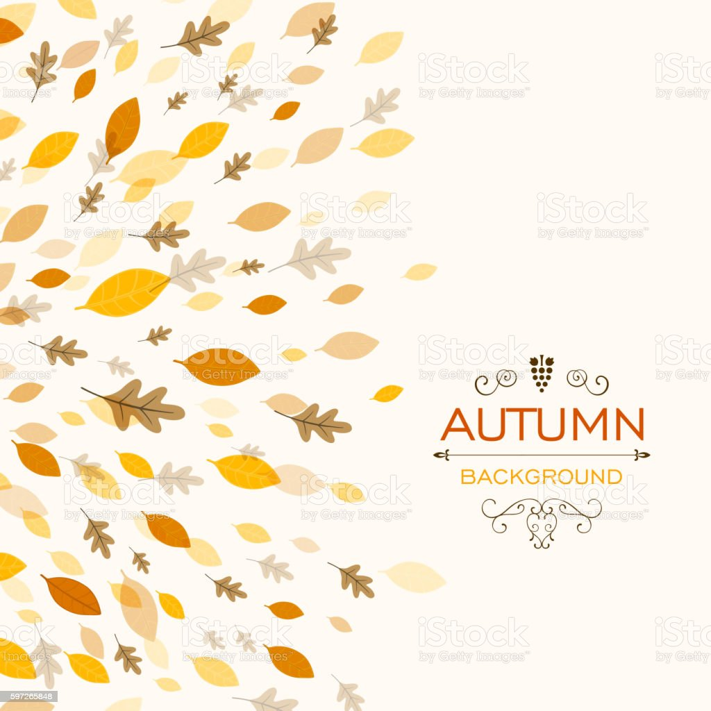Vector Fall Background with Autumnal Leaves royalty-free vector fall background with autumnal leaves stock vector art & more images of abstract