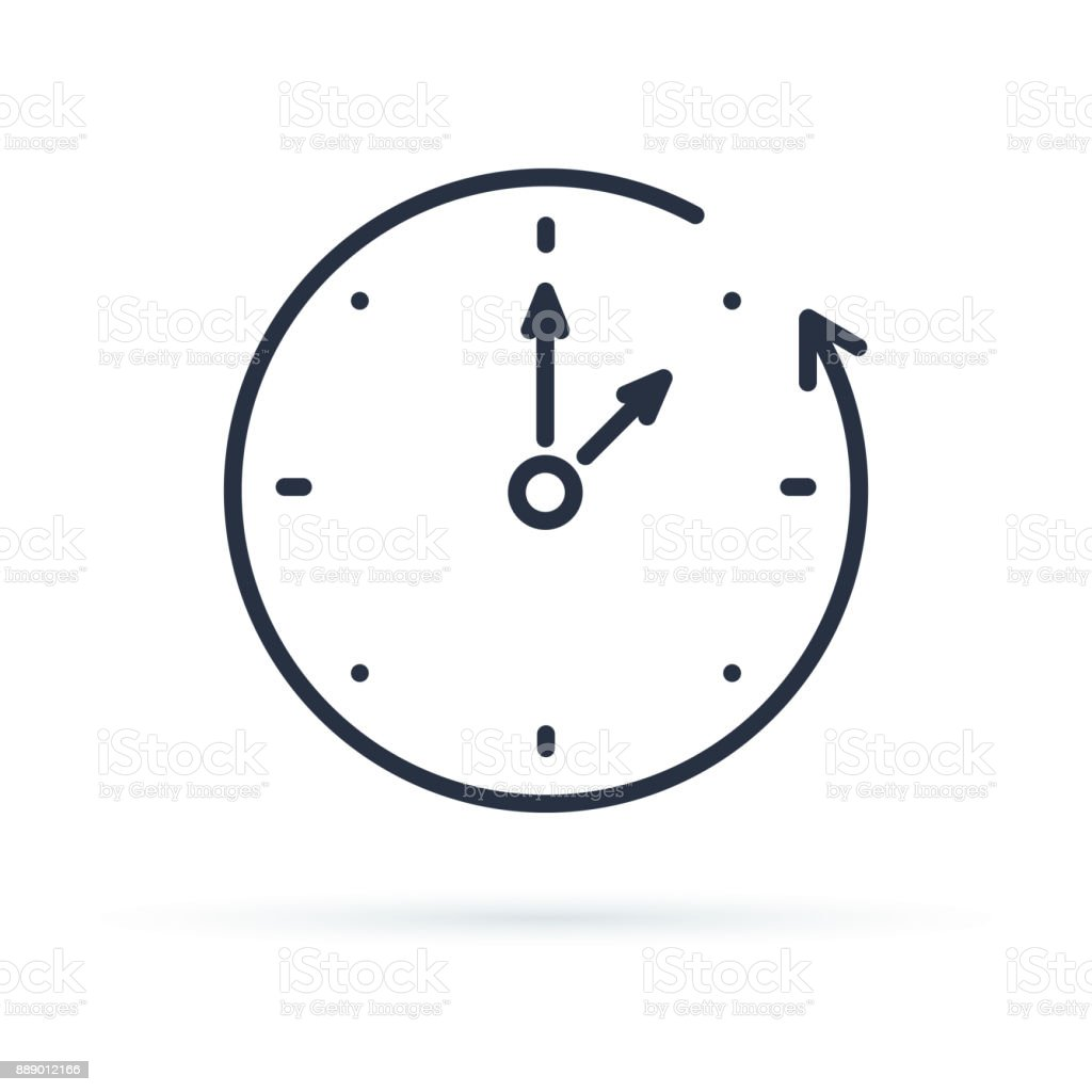 Vector fall backward icon. Change time. Adjust time. set time. vector art illustration