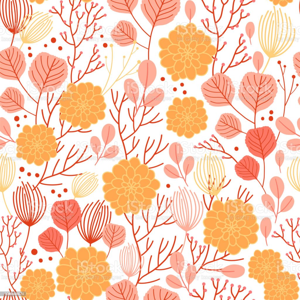 Vector Fall Seamless Pattern On White Abstract Background With