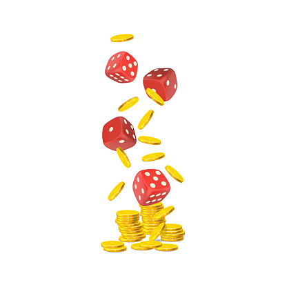 Vector falling  gold coins and  red casino dice isolated on white background
